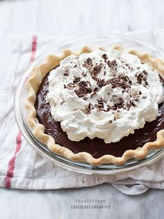 Chocolate Cream Pie is an easy homemade custard dessert