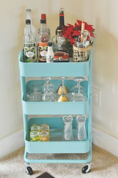 rolly alcohol cart...repurposed from bathroom cart