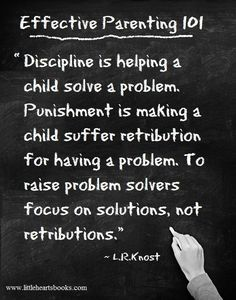 Discipline vs. Punishment <3 ~ L.R.Knost www.littleheartsbooks.com