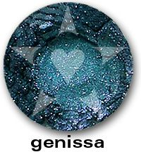 Bete Noire Mineral Eyeshadow. GENISSA is a dramatic smokey teal blue with brilliant blue sparks. http://www.aromaleigh.com/nebnomieyco.html