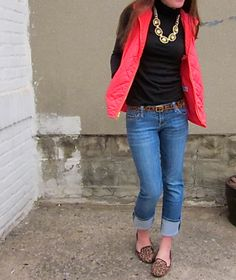 Red puffer vest / jeans / leopard-print belt and shoes  - except reverse because I have a red turtleneck and black puffer vest