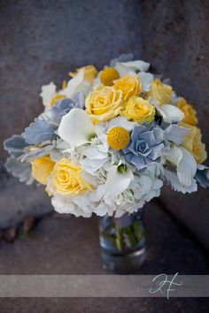 gray and yellow wedding bouquet flowers wedding flower bouquet, bridal bouquet, wedding flowers, add pic source on comment and we will update it. www.myfloweraffair.com can create this beautiful wedding flower look.
