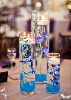 blue and purple wedding centerpieces   Centerpiece Options - Light Blue/Purple With Floating candles