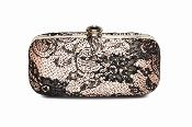 Satin effect clutch bag, with black lace and sequin detail, clasp fasteneing,reapshop.co.uk