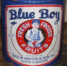 Large Advertising Tin: Blue Boy Fresh Frozen Fruits