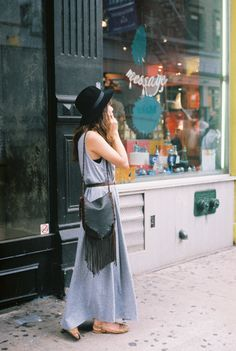 MAXI DRESS, BOHO, PURSE, FRINGE, STREET STYLE