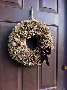 Burlap Fall Wreath for Front Door or Wall | WeHaveWreaths - Housewares on ArtFire  www.facebook.com/CraftCreationsbyJen