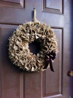 Burlap Fall Wreath for Front Door or Wall | WeHaveWreaths - Housewares on ArtFire  www.facebook.com/CraftCreationsbyJen