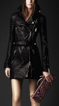 Leather biker trench coat