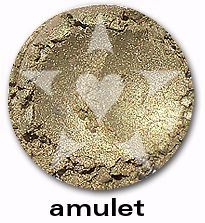"Amulet is a smooth lush silvery gold... or is it a golden silver? From Aromaleigh's metallic mineral eyeshadow collection, ""ALCHEMIE"", based on v1's ""Elemental Lustre""."