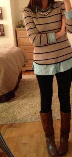 chambray shirt, striped crewneck sweater, black leggings, brown boots - fall / winter