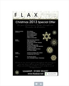 FLAX BAR CAFE #LOWESTOFT CHRISTMAS MENU  - made with simplebooklet.com