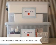 Using Smart Store from The Container Store to organize medical supplies, small project, big difference.