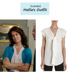 "On the blog: Mellie's (Bellamy Young) silk tie neck blouse | ""More Cattle, Less Bull"" (Ep. 305) #tvstyle #tvfashion #outfits #fashion"