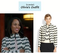 "On the blog: Olivia Pope's (Kerry Washington) textured print jacquard jacket | ""Say Hello to My Little Friend"" (Ep. 304) #tvstyle #tvfashion #outfits #fashion"