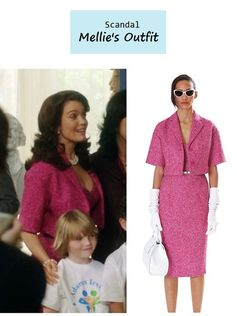 "On the blog: Mellie's (Bellamy Young) pink tweed dress & jacket | Scandal - ""Say Hello to My Little Friend"" (Ep. 304) #tvstyle #tvfashion #outfits #fashion"