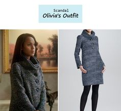 "On the blog: Olivia Pope's (Kerry Washington) gray boucle funnel neck coat  | Scandal - ""Icarus"" (Ep. 306) #tvstyle #tvfashion #outfits #fashion #gladiators"