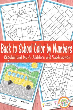 Free printables: Back to School Color by Numbers with addition and subtraction from Kids Activities Blog.
