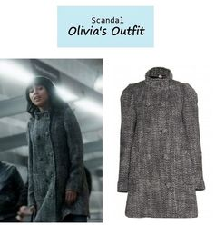 """On the blog: Olivia Pope's (Kerry Washington) gray tweed funnel neck coat 
