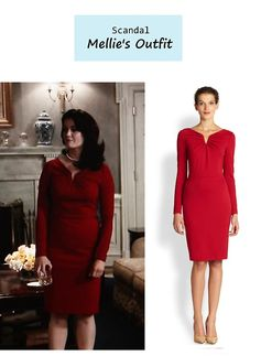 """On the blog: Mellie's (Bellamy Young) long sleeved red dress 