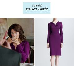"On the blog: Mellie's (Bellamy Young) purple gathered neck dress in purple | Scandal - ""Say Hello to My Little Friend"" (Ep. 304) #tvstyle #tvfashion #outfits #fashion"