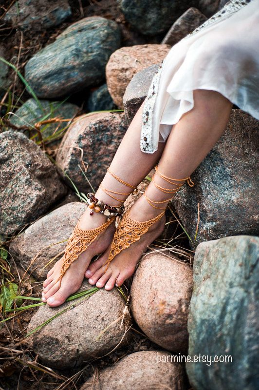 Crochet Gold Barefoot Sandals - SO CUTE.