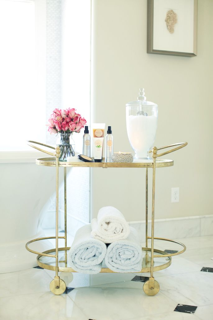 Gold bar cart turned bath cart...