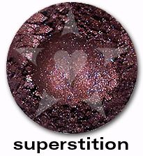 "Superstition is a deep indigo purple shade with sparkles of blue and garnet. From Aromaleigh's metallic mineral eyeshadow collection, ""ALCHEMIE"", based on v1's ""Elemental Lustre""."
