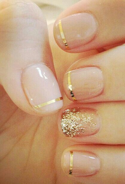 beautiful nude, gold accented nails