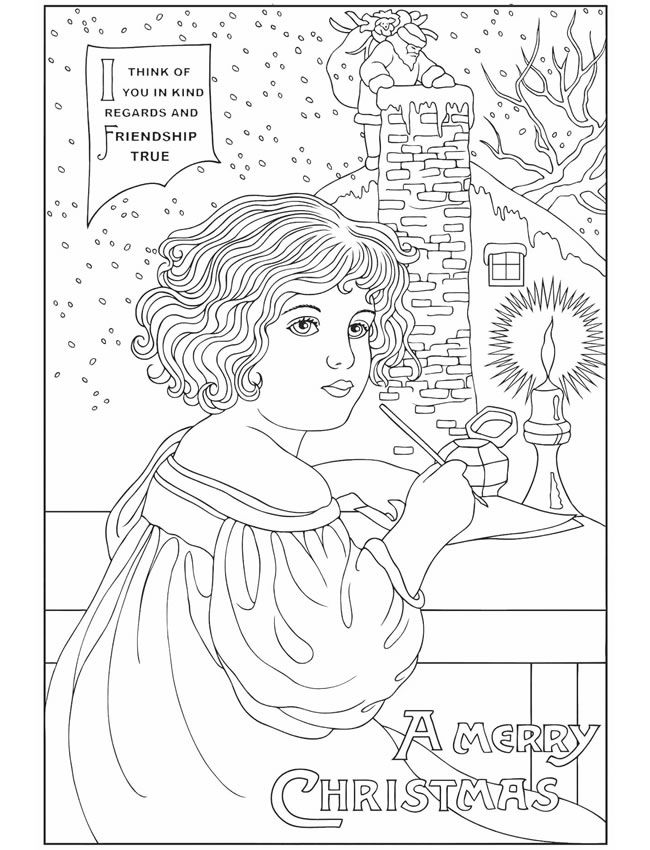 vintage christmas greetings coloring book dover publications