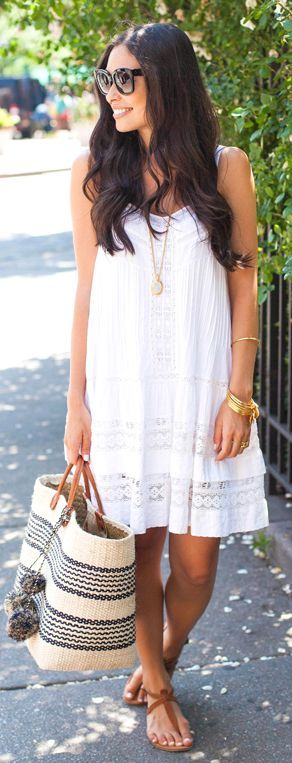 Twelfth St. By Cynthia Vincent White Lace Trim Spaghetti Strap Summer Dress by With Love From Kat