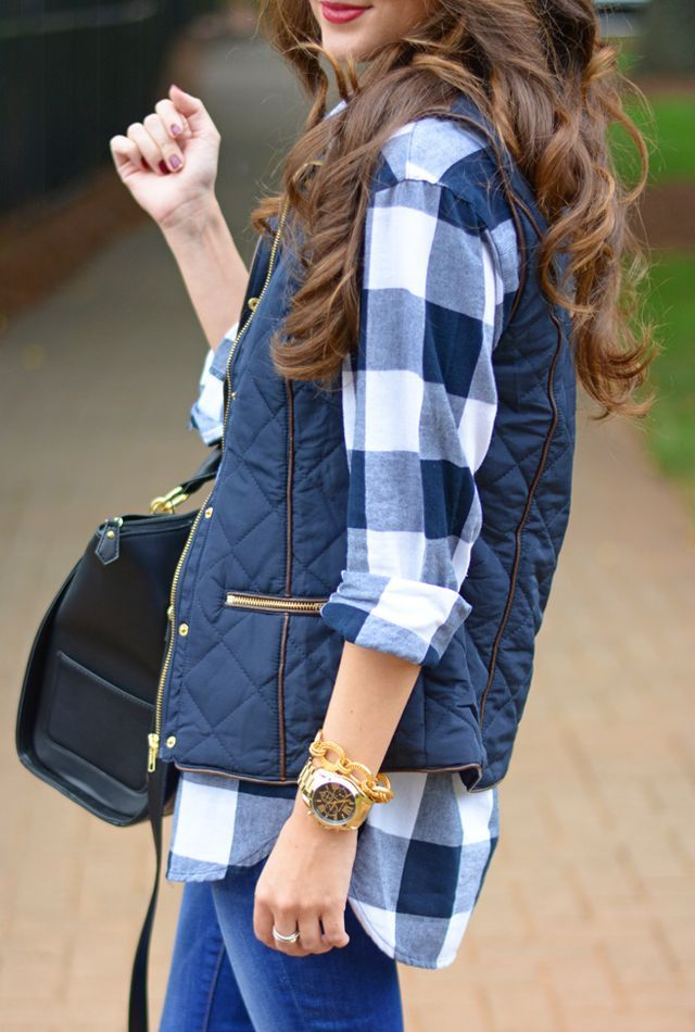 Puffy vest...yes please! Old Navy plaid shirt :) Southern Curls & Pearls