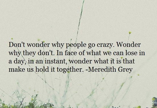 Don't wonder why people go crazy. Wonder why they don't. In face of what we can lose in a day, in an instant, wonder what it is that make us hold it together.