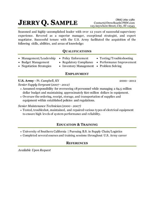 military transition resume job pinterest