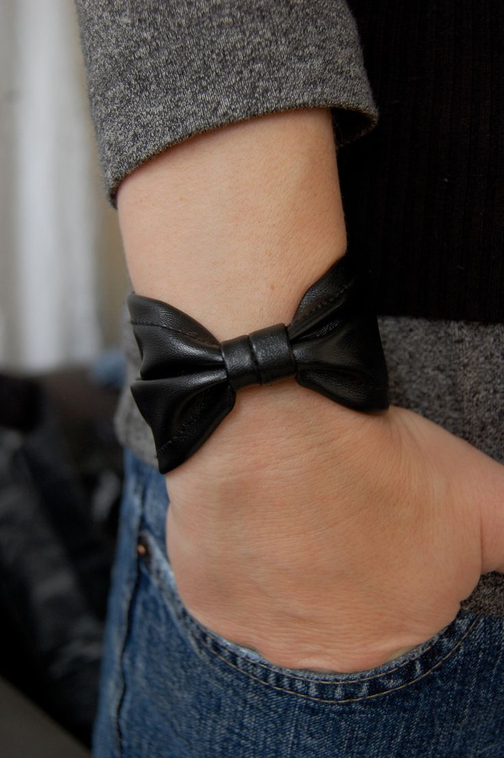 Bow Tie Cuff Bracelet Faux Leather Black by caseclothed on Etsy