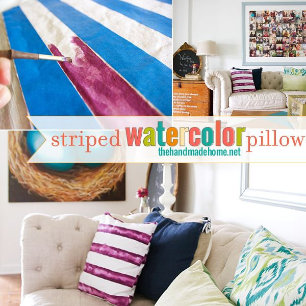 striped watercolor pillow | the handmade home