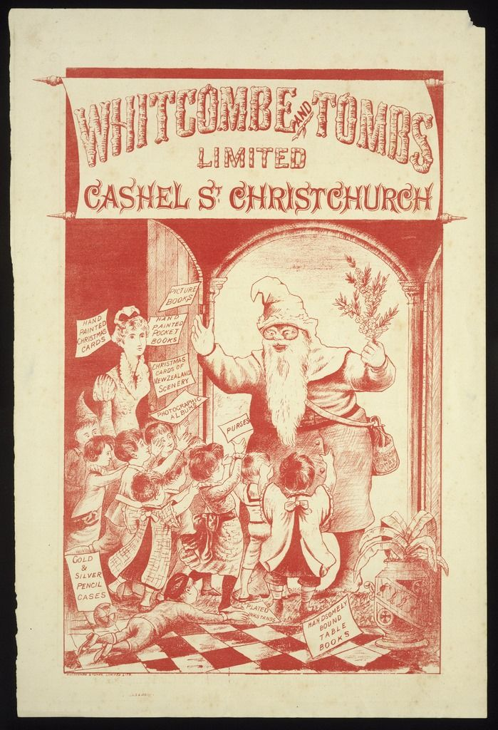 "Father Christmas promotes Whitcombe & Tombs, 1886 -- ""The 1880s saw an increase in the use of illustration and colour. This delightful image is the earliest advertisement in the Ephemera Collection to show the figure of Father Christmas. "" The National Library of NZ on The Commons (Flickr) http://www.flickr.com/photos/nationallibrarynz_commons/6297407278/"