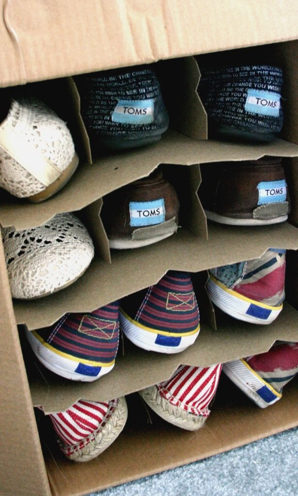 Use wine boxes (cause we know you have them during the holidays) for children's shoes. www.wholesomehomes.net