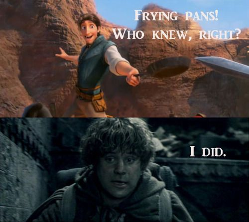 Samwise Gamgee - The original user of the frying pan in battle!