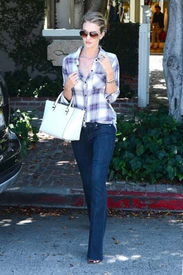 flannel with flared jeans and heels