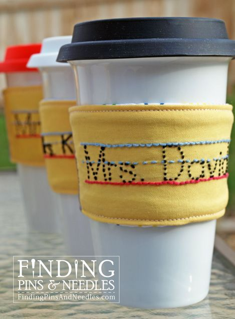Finding Pins and Needles shows you how to make a personalized drink sleeve for a teacher. Love the dotted lines!