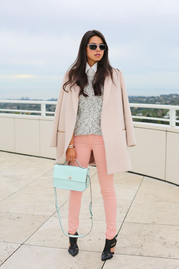 """Garbo heels via ShoeMint   Coat via McGinn Collection   Paige Denim skyline ankle peg jeans   Theory Fretta B pullover   Rebecca Minkoff Blake bag   Banana Republic sunglasses   Juicy Couture arrow bracelet in pink gold & pave arrow ring   Estee Lauder nail polish in """"Lilac Leather"""" & """"Coral Cult"""""""