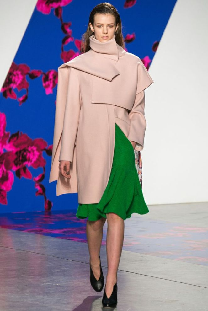 thakoon fall 2014 rtw green skirt, wrap shawl, wrap sweater