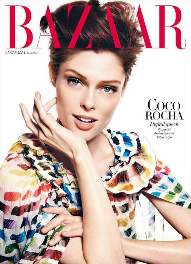Harper's Bazaar Australia April 2014, Coco Rocha by Steven Meisel. Chanel rainbow dress.