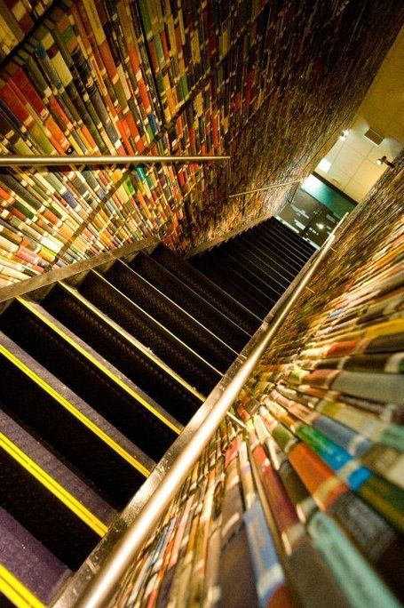 Dizzying book wall