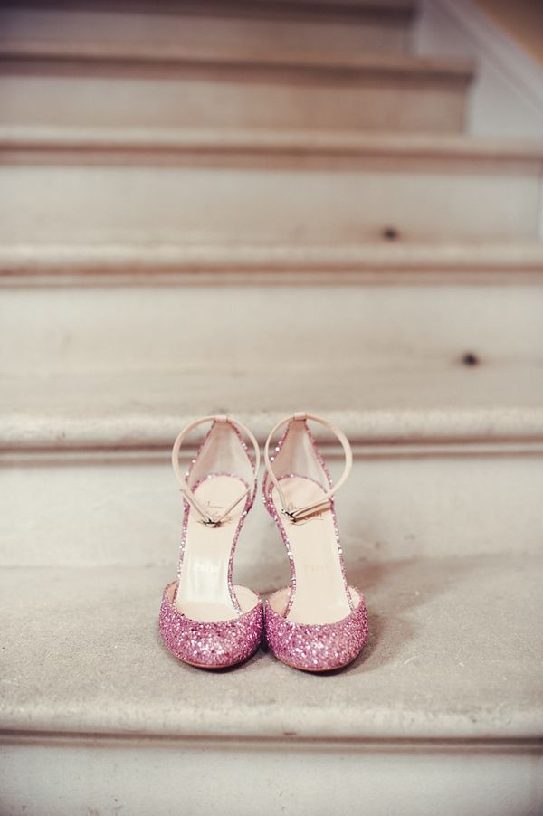 Christian Louboutin pink sparkly shoes.