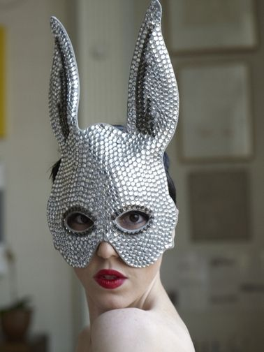 Heather Huey creation: a studded rabbit mask