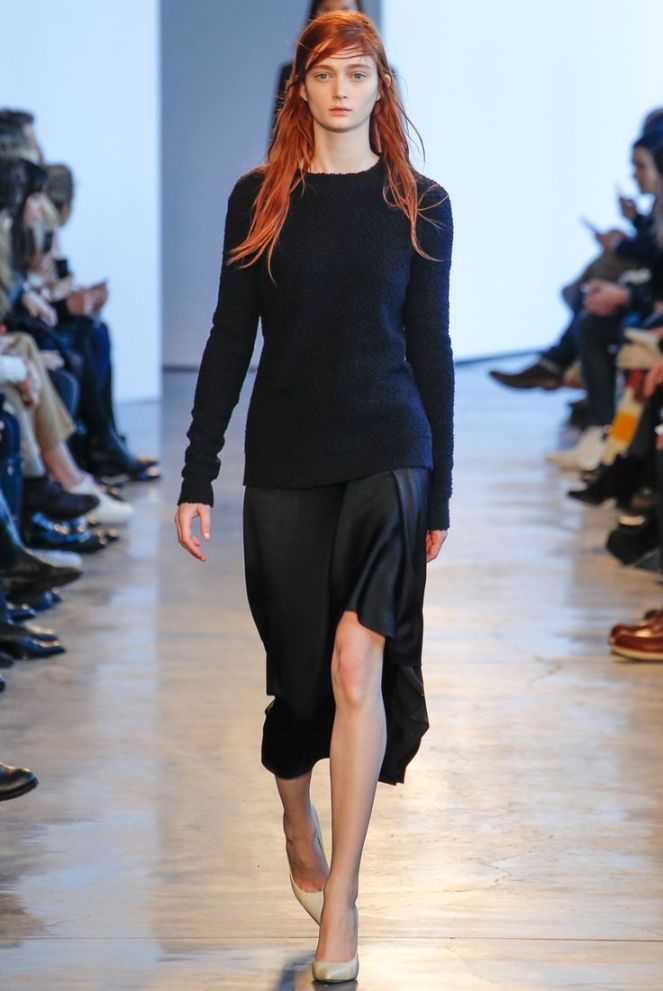 theory fall 2014 rtw all black, red hair, thigh high slit skirt