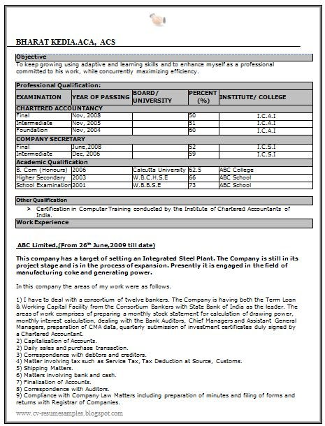 sarkari naukri resume sample free download doc 1