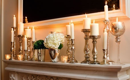 Mercury Glass - very effective. More candle holder ideas http://DecoratedLife.com/candle-holders-create-home/